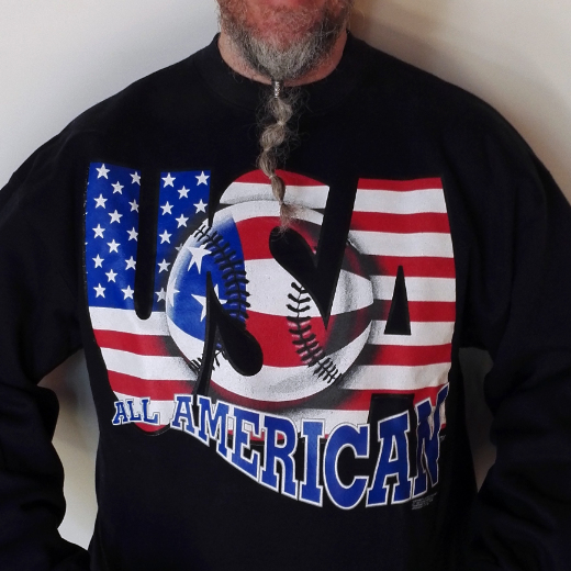 Baseball painted over American flag with text USA and All American.