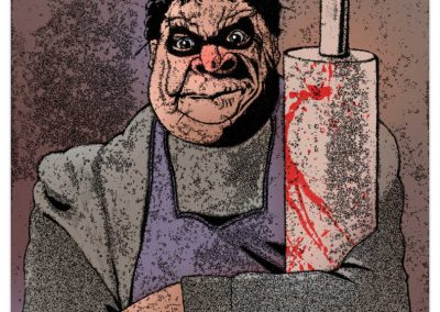 Beagle Boys Mother hands crossed with blood spatter on her rolling pin.