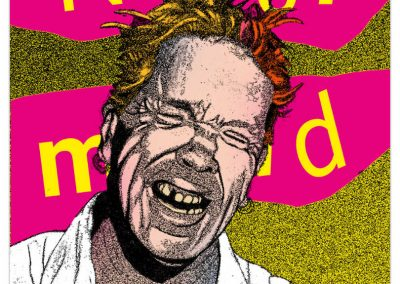 "Jonh Lydon's face on yellow text ""never mind"" opn pink background."
