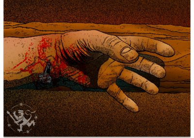 A crucified hand, nail through wrist with blood splatters on red and brown background.