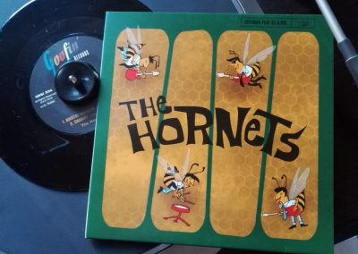 The Hornets record sleeve on the record player.
